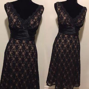 S.L Fashions Black Lace double V neck dress EUC